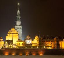 Częstochowa, klasztor jasnogórski nocą